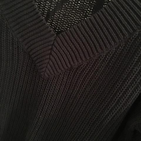 Mørkeblå lang og strikket genserkjole Bloppis