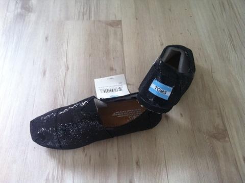 Toms glitter sko 39, svart, black glitter ubrukt