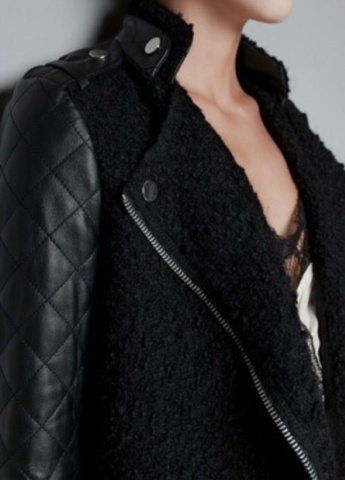 ZARA jakkekåpe med skinn ermer!