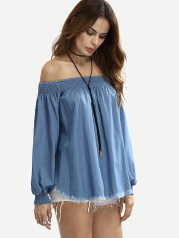 Ekstra Off shoulder jeans topp/genser, NY! Ta 3 betal for 2'm - Bloppis RL-76